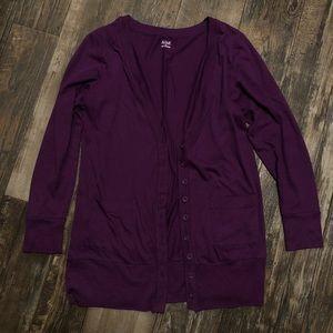 Dark Purple Button Cardigan with Pockets
